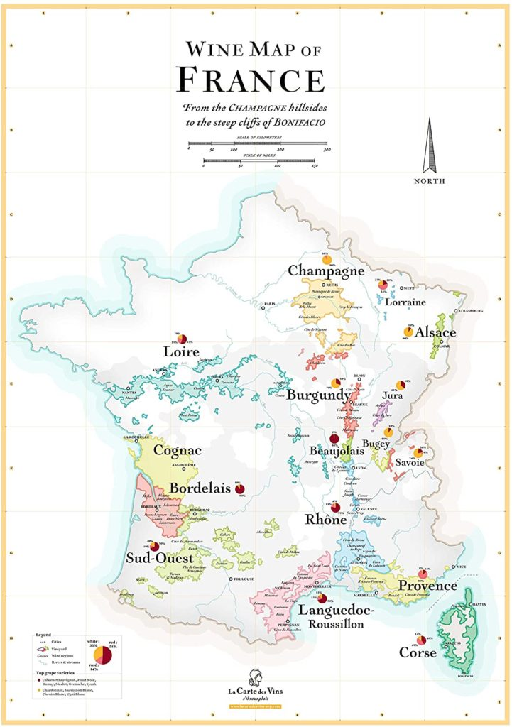 Wine tourism in France - map of vineyard